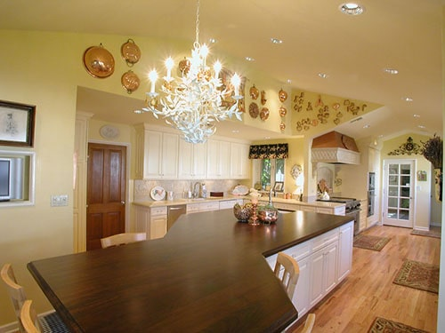 French country island wooden countertop