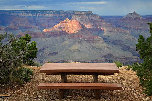 Picnic table with a view