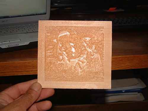Lithophane carving in basswood