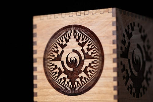 Cherry wood with binary computer engraving