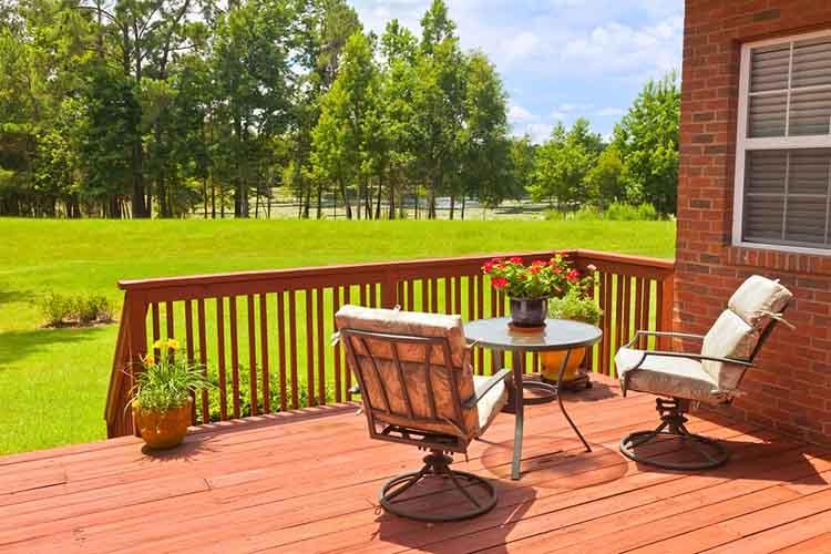 Residential backyard deck