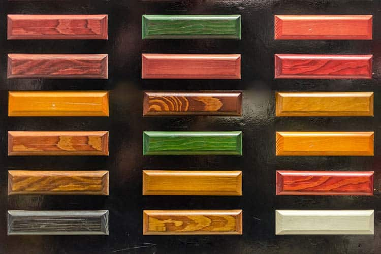 Colorful wood stain color test samples