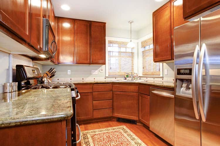 Small brown wood kitchen room