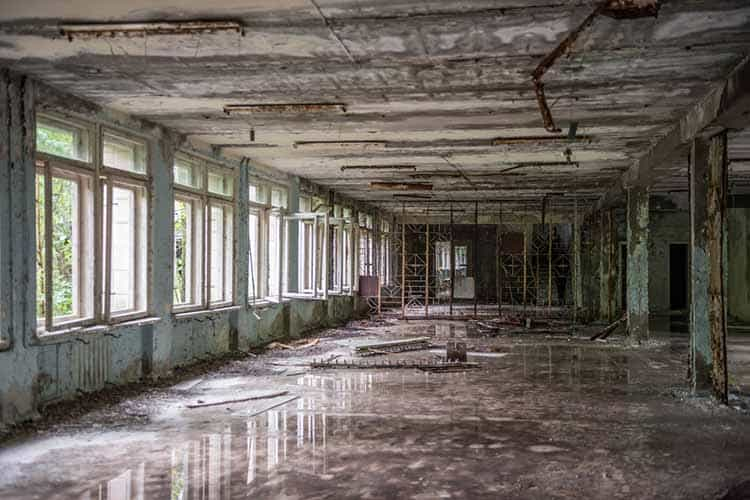 abandoned school hall in Pripyat