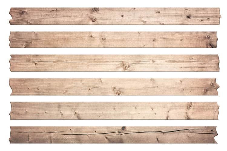 Old brown wooden planks for text are isolated on white background.