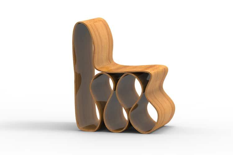 3d render of a modern Wavy Chair