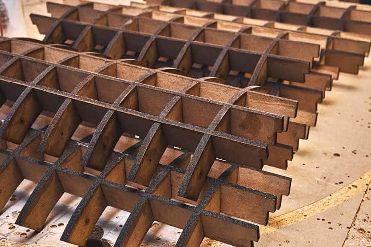 frames for bending plywood in workshop