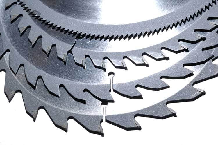 A nest of Circular saw blades of different sized teeth
