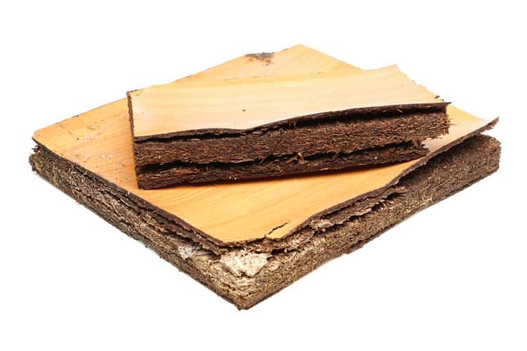 particle board damaged by water and humidity - wood material for furniture