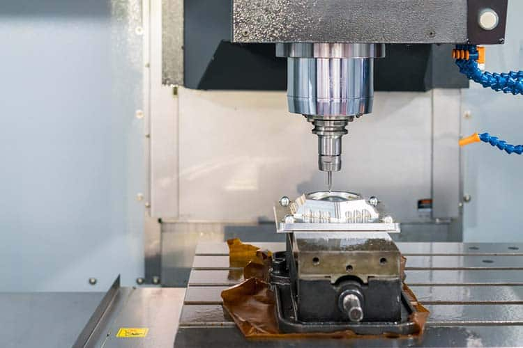 Close up cutting tool working with workpiece by high speed