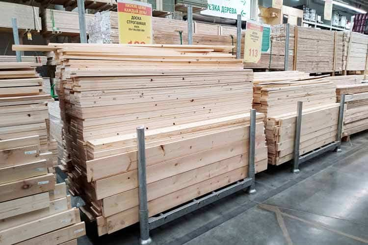 Piles of planks and timbers