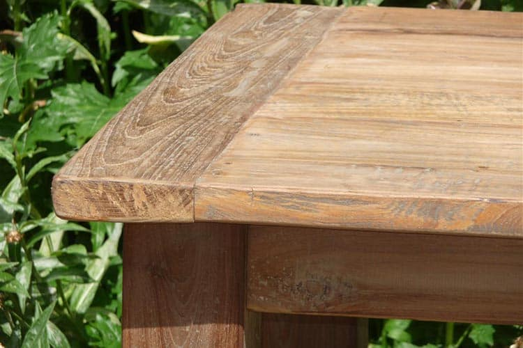 Close of a teak table made of old Indonesian teak wood