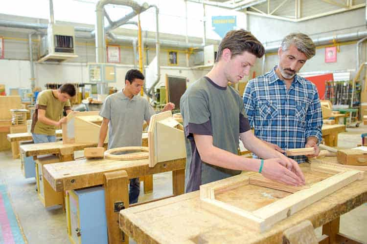 Students in a woodwork class