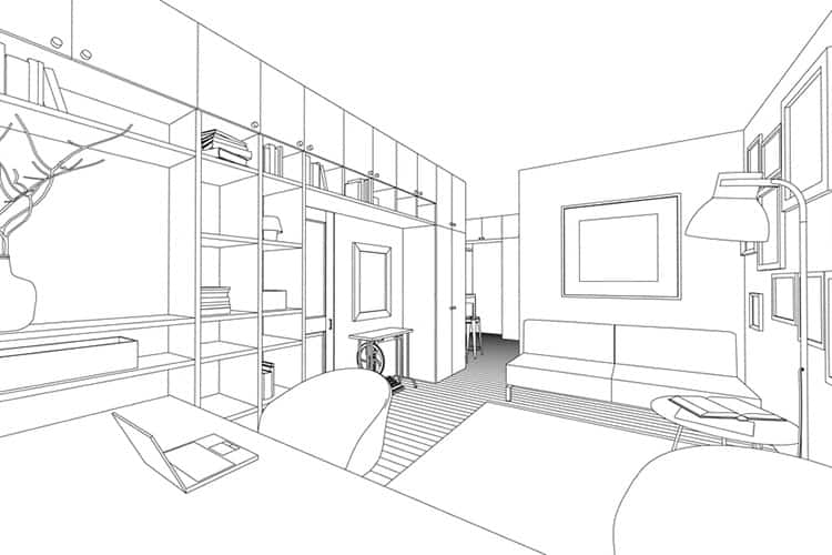 Line drawing of the interior on a white background