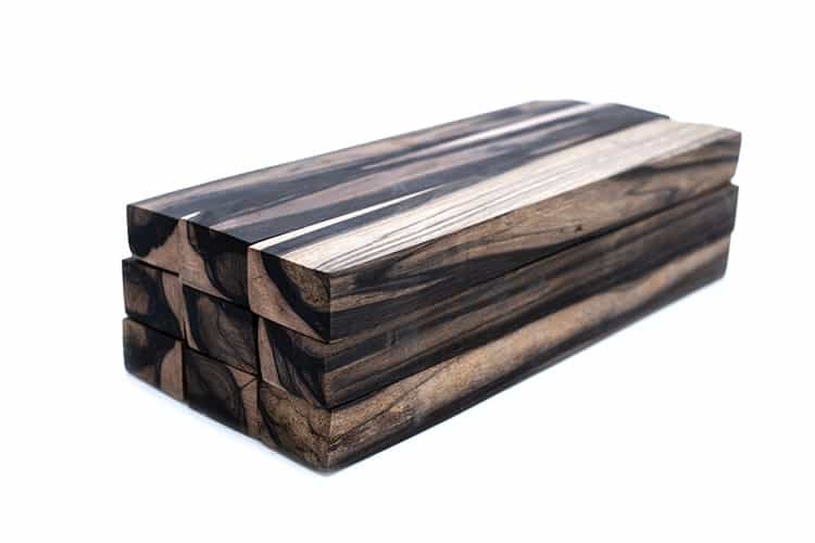 Black and white wood log exotic on white background texture,